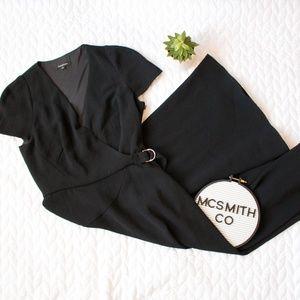 Tara Jarmon | Black Cap Sleeve A-Line Midi Dress